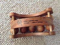 Body Shop wooden wood hand held roller ball back massager vgc