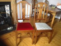 6 20th century dining chairs, sturdy and elegant in excellent condition.