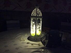 Moroccan style lanterns with lights