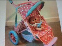 ELC dolls 3 wheel pushchair & highchair & baby bouncer