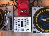 NUMARK DJ TURNTABLES WITH NEEDLES - BEHRINGER MIXER ETC ETC