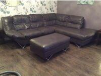 Leather corner sofa & footstool