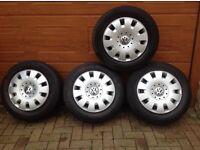VW Transporter 16inch Steel wheels complete with genuine VW wheel trims
