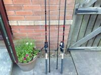 Brand new feeder rods with reels