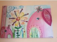 Beautiful Large canvas picture ideal for girls bedroom -Elephants