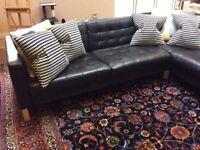 Black leather sofa corner