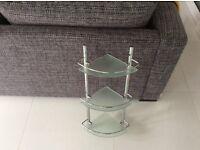 3 tier glass, corner bathroom shelves, 63.5cm high x 30cm wide