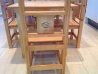 Kids wooden dining table and 4 chairs from Courteney's Workshop, New Zealand!