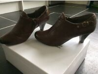 M&S brown shoes, mid size heel, size 4