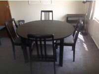 Dark Ash Dining table, 6 chairs and sideboard