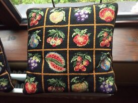 Completed cross stitch cushions