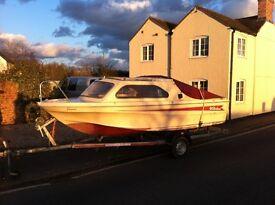 Shetland Family Four Cruiser with Honda 15HP 4 stroke engine and trailer
