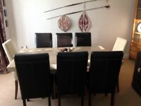 Travertine marble dining table and 8 dining chairs