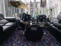 5 piece drum set with hi-hat+crash+ride cymbal + stool