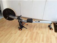 Rowing machine foldable for transporting little used as new.