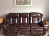 Lovely 3 Seater Leather reclining sofa and matching reclining chair