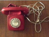 Vintage original classic dial red telephone 1960's 1970's