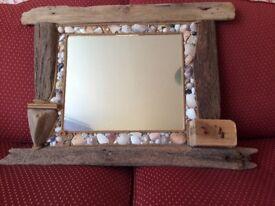 Drift wood mirror, made from reclaimed drift wood.