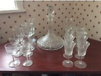 Glass Decanter with selection of glasses