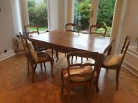 A full set dining table and 6 chairs