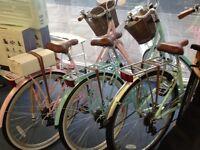 Ladies retro Dutch style bikes. Different colours.