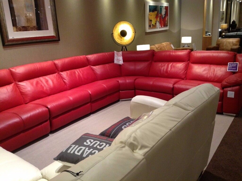 100% leather 7 seater sofa with double electric recliner