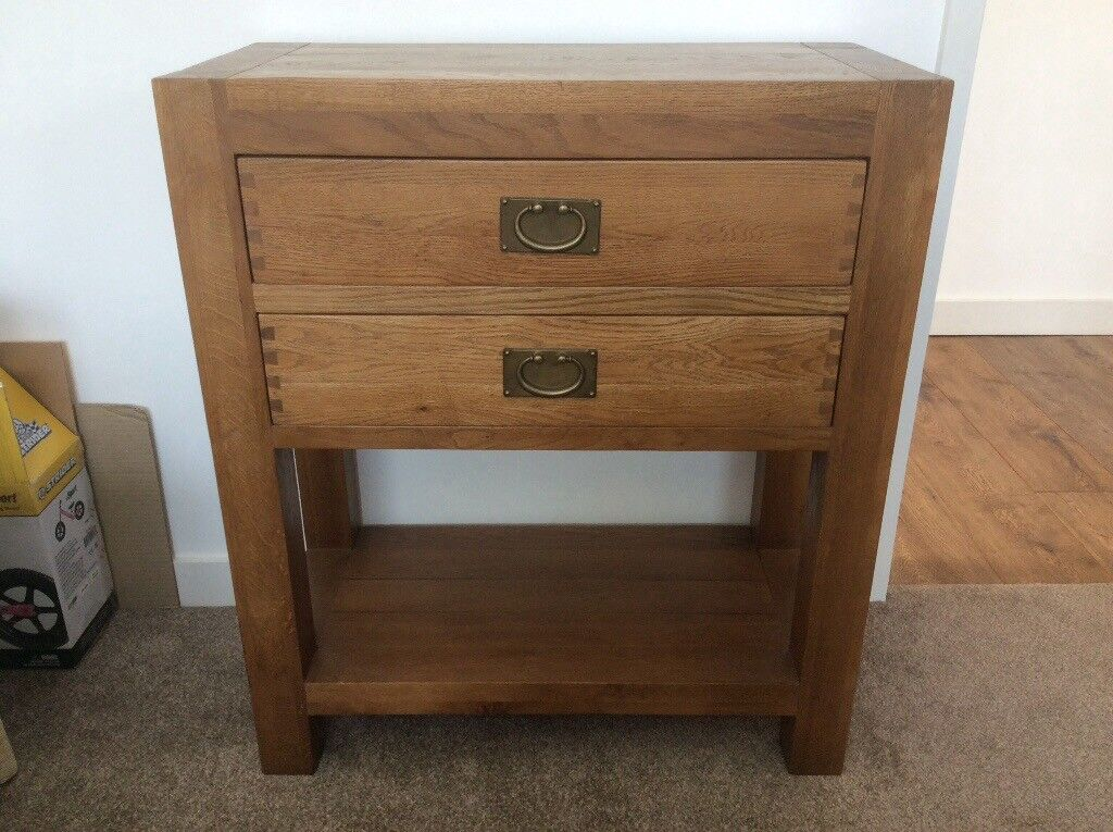 Oak hall console table two drawer
