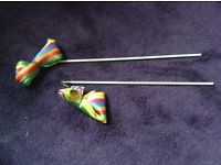 Rainbow twirling ribbons