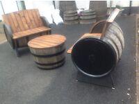 Oak whiskey barrel garden furniture,garden patio,pub bar
