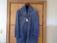 NEW Gianni Versace - Versus Suede Leather winter man blue coat jacket