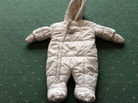 White mothercare snowsuit 0-3 months
