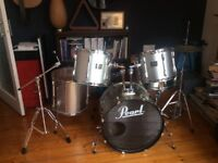 Pearl export drum kit with full set of pearl gig bags, hi hat cymbals and stick bag