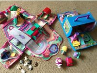 Pound puppies pink van & wedding house carry toys folds out