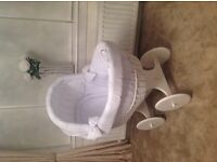 Leipold Baby Blue Check Wicker Crib Moses Basket
