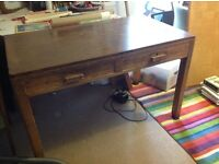 Vintage solid wood two drawer desk.