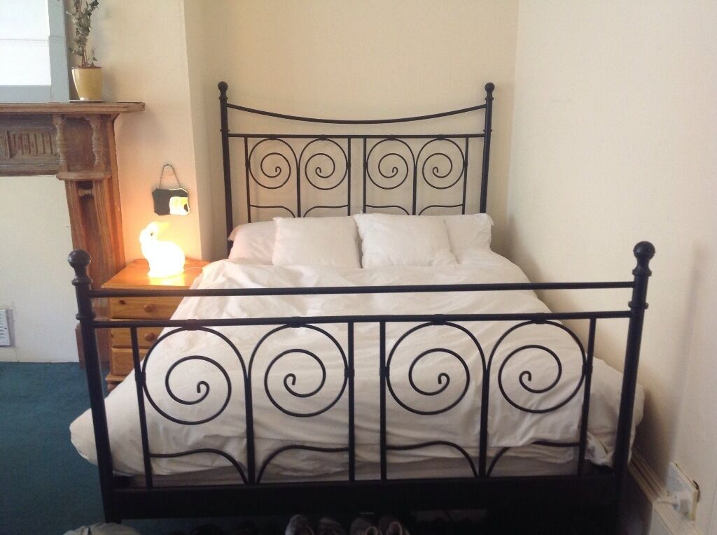 ikea black double metal french bed frame bed stead in north kelvinside glasgow gumtree. Black Bedroom Furniture Sets. Home Design Ideas