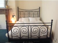 Ikea black double metal french bed frame bed stead