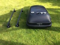 Car Roof Box plus roof rails well used by all complete