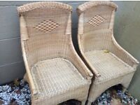 Rattan wicker garden chairs x3 lovely looking chairs could be painted and cushioned or as is