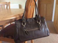 Coach designer chocolate brown leather handbag