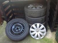 Set of Four Winter Tyres 215/55 R16 on Steel Wheels with VW trim