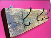 Reclaimed oak/bronze coat rack