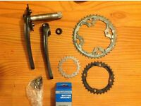 Shimano deore 175 hollowtech FC-M590 crankset with triple chainrings, bolts & BB
