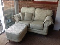 2 Seater Settee Cream/Green with Large Foot Stool