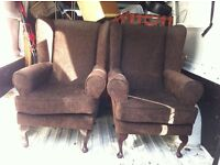 Two draylon wing backed chairs queen Ann legs