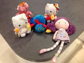 A selection of girls cuddly toys