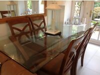 Glass top wooden dining table & 4chairs