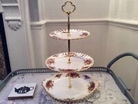 Large Royal Albert Bone China 3 Tier Cake Stand. Old Country Roses.