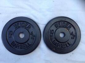 6 x 10lb (4.5kg) Weider Standard Cast Iron Weights