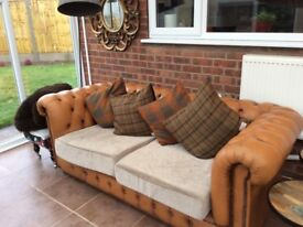 Vintage Tan Leather Chesterfield Sofa with Harris Tweed Cushions